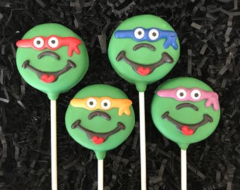 Teenange mutant ninja turtles Oreo cookie pops / birthday party favor / kids birthday / one dozen (12)