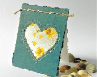 Blue wedding greeting card, Handmade wedding heart cards with flowers, Engagement greeting card, blue gray recycled paper card