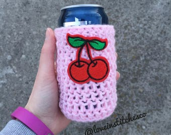 Cherry beer coozie, can cozy, bottle cozy, pink coozie