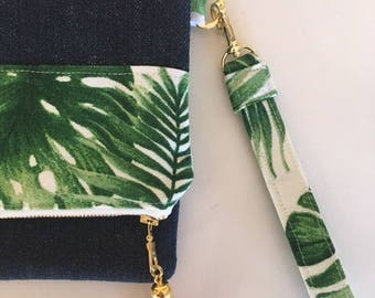 Green Leaf Foldover Denim Clutch - Tropical Denim Clutch Bag - Ladies Fold over Clutch Bag