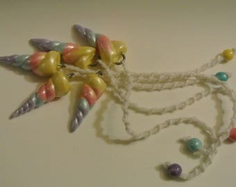 Rainbow Pendulums - Handmade Polymer Clay Scrying with Twisted Cotton Cord