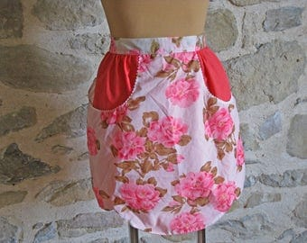 1950s pink flowery apron - vintage French reversible homemade nylon pinny