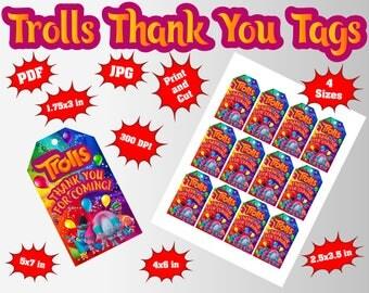 Trolls Thank You Tag | 4 Sizes(5x7in/4x6in/2.5x3.5in/1.75x3in) | 2/3/9/12 Per Page | Trolls Tags | Trolls Party | Trolls Birthday Decoration