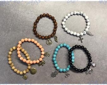 Beaded Bracelets, Charm Bracelet, Blue Moon Beads, Metal Charms