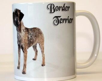 Fine Ceramic Border Terrier Dog Mug  with Breed Traits