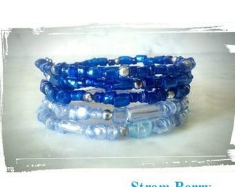 Elegant blue bracelet multi pet and celeste