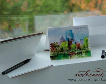 NOTECARDS - Package of 8 notecards postcard with white envelopes Boston public garden historic, artwork, watercolor art, gift idea holiday