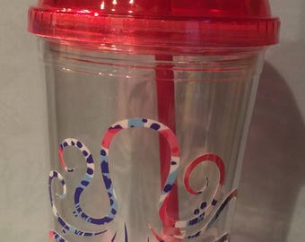 Lilly decal on pink cup
