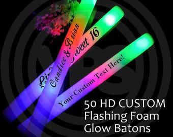 "LED 50 Custom Foam Glow Stick Batons - 16"" - 3 Flashing Modes - Weddings, Sweet 16, Birthday, Nightclub,"