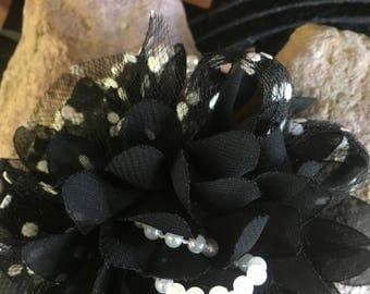 Polka Dot Brooch, Black White Flower Brooch, Fabric Flower Brooch Pin, Black Carnnation Flower Pin