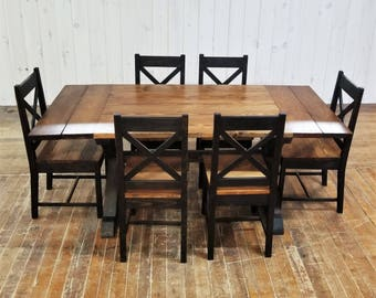 Rustic Farmhouse Dining Set with Extensions, Solid Wood Table, X Trestle Base, Six X Back Chairs, Ebony & Walnut Finish