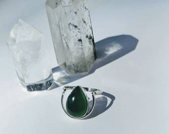 Sterling Silver Pear Shaped Jade Crescent Ring