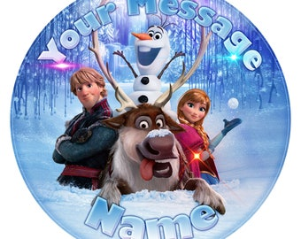 """Frozen Movie Inspired Personalised Edible Icing. Birthday Cake Topper Decoration 7.5"""""""
