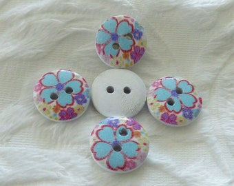 WHITE TURQUOISE FLOWER WOODEN BUTTON
