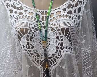 green necklace long beaded necklace tassel  Elegant beaded necklace beading Jewelry Handmade Modern green Czech beads cotton thread ceramic