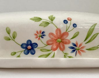 Vintage Federalist Ironstone White Floral 1/4 Pound Butter Dish Model 4238 2-8