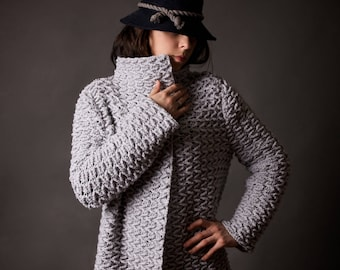 handmade wool cardigan hand knitted wool coat chunky wool
