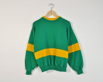 Color Block Sweatshirt, Vintage 90s Sweatshirt, 90s Striped Sweatshirt, Color Block Top, Teal Oversize Sweater, 90s Boyfriend Shirt