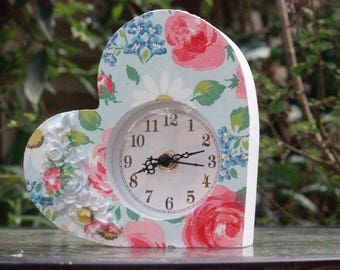 Cath Kidston pretty slanted heart small clock in daisies and roses decoupaged to the front with AA battery included