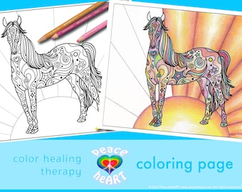 Horse Design Coloring Page, Art Therapy Healing, Color Healing Therapy, Mindful Coloring, Peaceful Healing Art, Coloring Pages Kids Animal