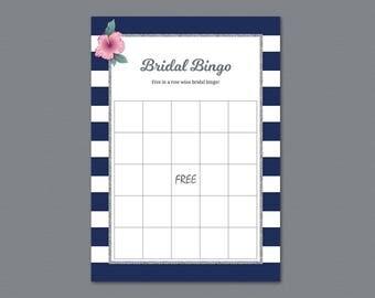 Kate Spade Bridal Bingo Game Cards, Silver Bachelorette Party, Bridal Shower Games, Navy Blue Stripes, PDF Download, Wedding Bingo, A019