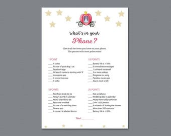 Cinderella What's in your Phone Game Printable,  Whats on Your Phone, Bridal Shower Games, Disney Fairy tale, Wedding Shower Activity, A012