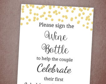 Please Sign the Wine Bottle Printable, Wedding Anniversary, Sign Champagne Bottle, Gold Confetti, Guest Book, Bar Sign, Reception, A001