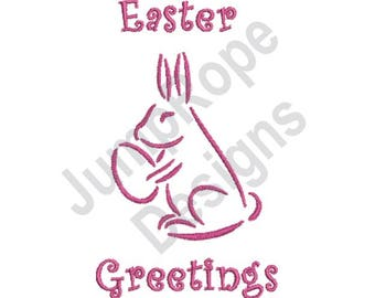 Easter Bunny Greetings - Machine Embroidery Design