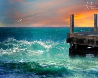 sea background, jetty, waves, splashes,digital background, digital backdrop, children,fairy tale