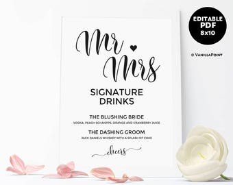 Signature Drink Template, Signature Drink Sign Instant Download, Wedding Drink Template, Printable Signature Cocktail Sign Instant Download