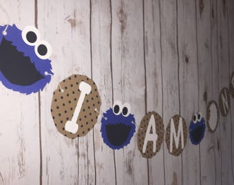 Cookie Monster First Birthday - I am One - Custom - Banner