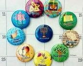 Jewish Holidays Magnets, Jewish Art, Jewish Gifts, Fridge Magnet Set, Jewish holidays gift ideas, Hanukkah Menorah, Passover Gift. Pesach