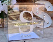 Two Color Personalized Wedding Card Box I Acrylic Card Box | Wedding Money Box with Lid | Wedding Card Box | Wedding Card Holder |