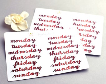 Days of the week hand lettered planner stickers in Summer Red