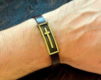 Cross Bracelet Jesus Bracelet Mens Leather Bracelet Mens Bracelet Brawn Mens Bracelet Gift For Him Christian Jewelry