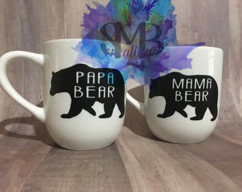 Mama Papa Bear mug set