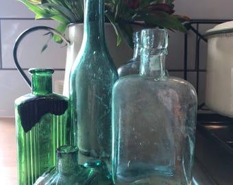 Bundle of Vintage Glass Bottles