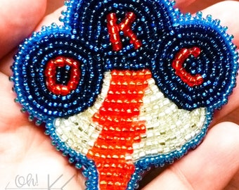 Oklahoma City Thunder beaded brooch lapel pin