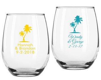 Set of 12 Personalized Palm Tree Design 9 ounce Stemless Wine Glasses ++ Personalized Wine Glasses ++ Custom Wedding Favors