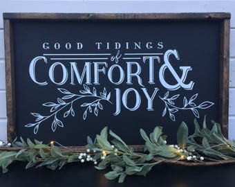Good tidings of comfort and joy | framed wood sign | farmhouse christmas | black and white | rustic | farmhouse chic | christmas sign