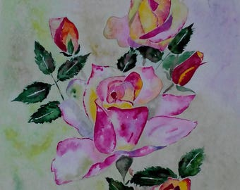 "painting "" Roses"" 30.5*43 cm GIFT IDEA"