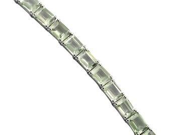 Natural Green Amethyst Bracelet, 925 Sterling Silver Bracelet, 7x9 MM Oval Amethyst Stone Silver Bracelet, Bracelet 7.5 Inch
