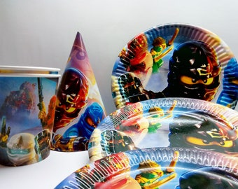 Paper tableware Ninjago. Paper tableware for children's holiday or birthday. Set for children's holiday,party or birthday. Ninjago party.