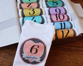 12 Monthly Bodysuits for Baby's 1st Year - Hearts or Hearts