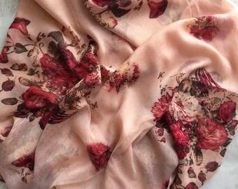 Oriental flower garden. Scarf hijab wrap shawl sarong. flower printed large