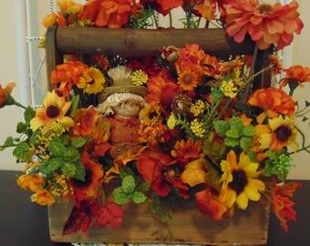 Fall Garden Trug With Scarecrow