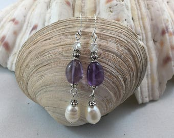 Purple Amethyst Cultured Pearl Crytal Silver Plated Bead Drop/Dangle Earrings with .925 Silver Wires