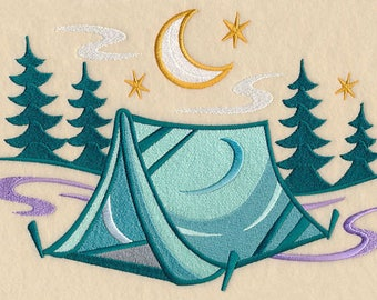 Retro Camping Tent Scene Iron-on Patch Available in 2 Sizes // Iron on Patch // Embroidered Patch // MADE TO ORDER