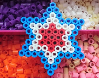 Small Blue, White and Red Hama Bead Star