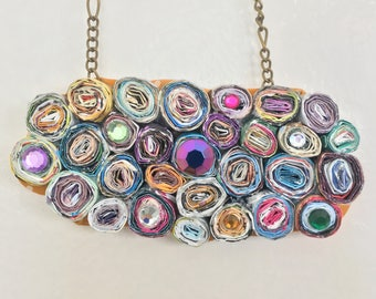 Paper necklace - birthday necklace for mom - handmade necklace - rainbow colors - bead jewelry wife - wives jewelry - gift for women